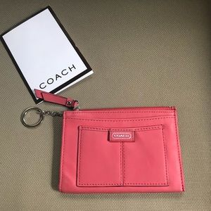 COACH Leather Card Wallet with Key Ring, LIKE NEW